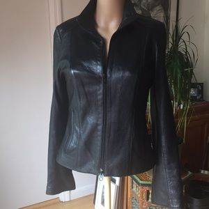 Jackets & Coats - Black Moto Lambskin Leather Jacket